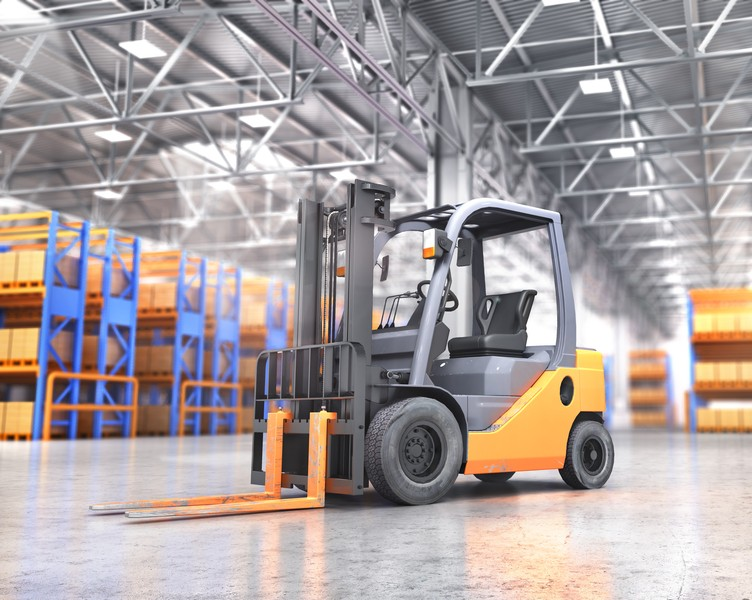 A fork lift in a big warehouse facility full of inventories